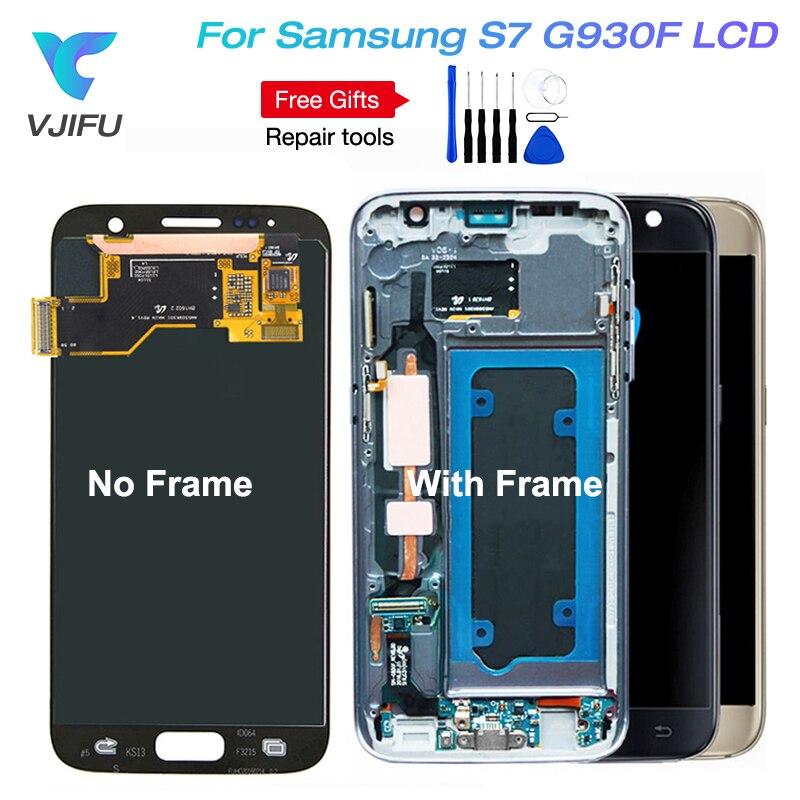 1 pcs S7 G930 LCD SUPER AMOLED 5.1 ''Remplacement pour SAMSUNG Galaxy S7 G930f G930FD G930W8 LCD Assemblée D'affichage avec Cadre