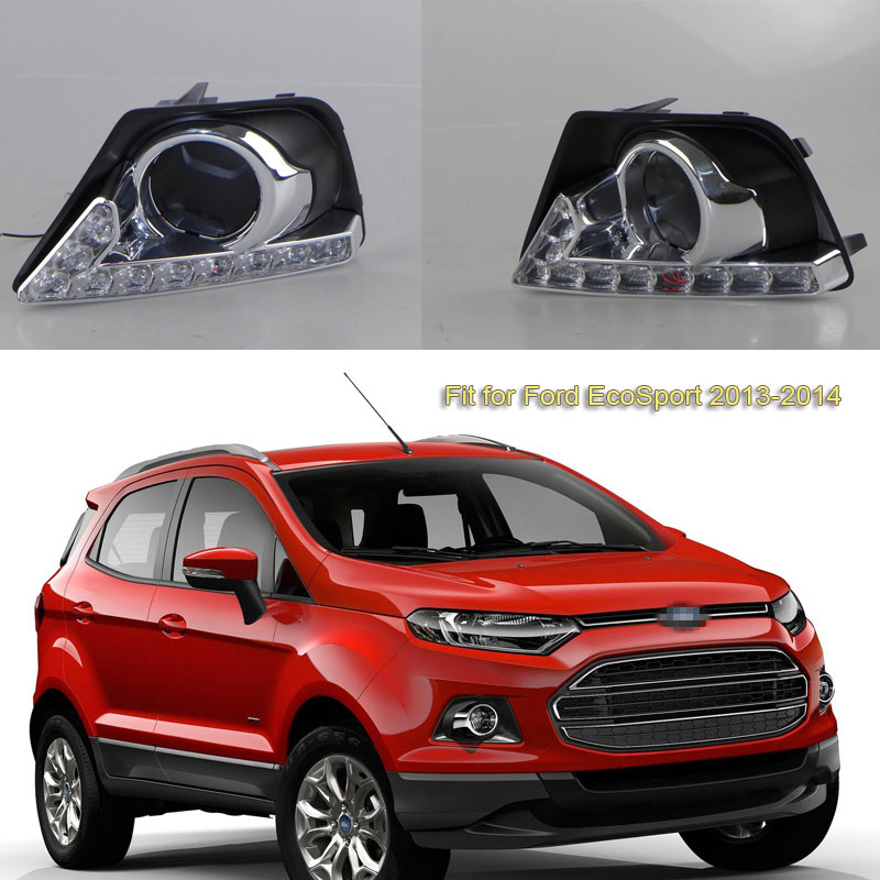 2Pcs White LED DRL Daytime Running Lights Lamps W/Controller Fog Driving Lamps For Ford Ecosport 2013 2014
