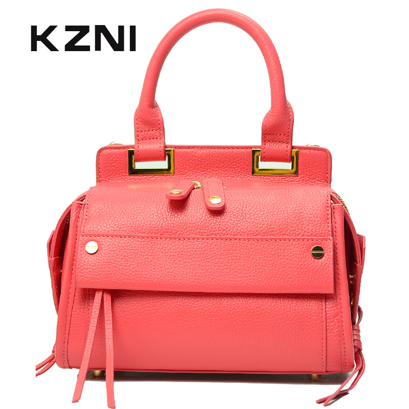 KZNI Genuine Leather Bag Female Women Messenger Bags Women Handbags Tassel Crossbody Day Clutches Bolsa Feminina Sac Femme 1416 women genuine leather character embossed day clutches wristlet long wallets chains hand bag female shoulder clutch crossbody bag