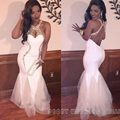 Sexy Long White Prom Dress 2016 Halter Backless Mermaid Golden Rhinestone Prom Dresses Gowns Sexy Girls Party Dress Prom RM48