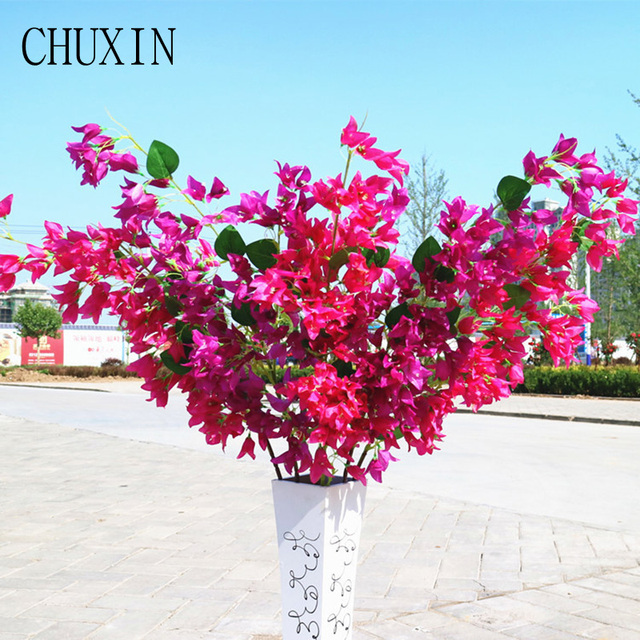 Decorative Silk Fake Flowers Bougainvillea Artificial Flower Branch
