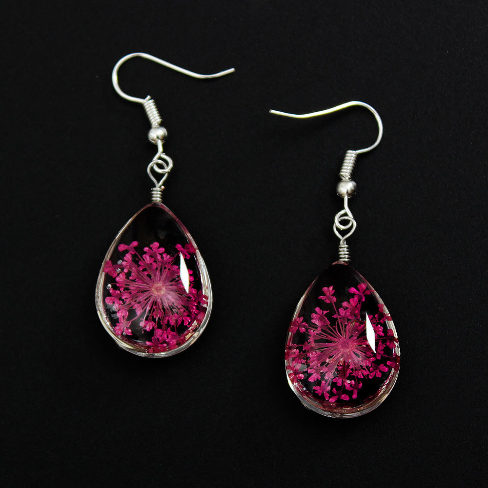 Real Plant Dry Flower Waterdrop Pressed Flower Dangle Earrings Fashion Woman Ear Jewelry Accessaries 2016 Colors Available ...