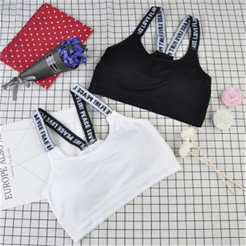 Women Bra Fitness Top Letters Bra For Cup A-D Black White Running Crop Top Women Push Up Top Feminino Roupa Esportiva Feminina