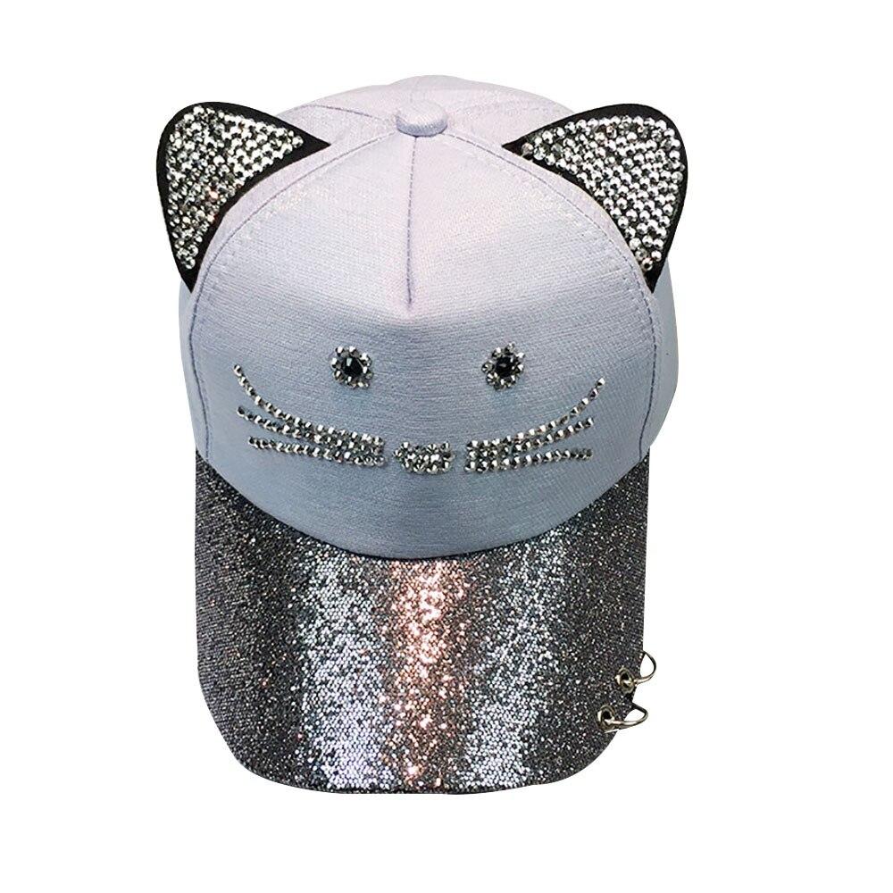 2019 Koreanische Mode Frühjahr Und Sommer Damen Katze Diamant Baseball Kappe Flut Outdoor Sonnenschirm Reise Net Hut Flut Frauen Hüte Kappe Aromatischer Charakter Und Angenehmer Geschmack