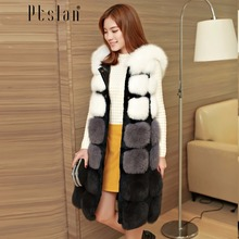 Ptslan 2016 Women's Real Fox Fur Genuine Without Sleeve Long Coat Classic