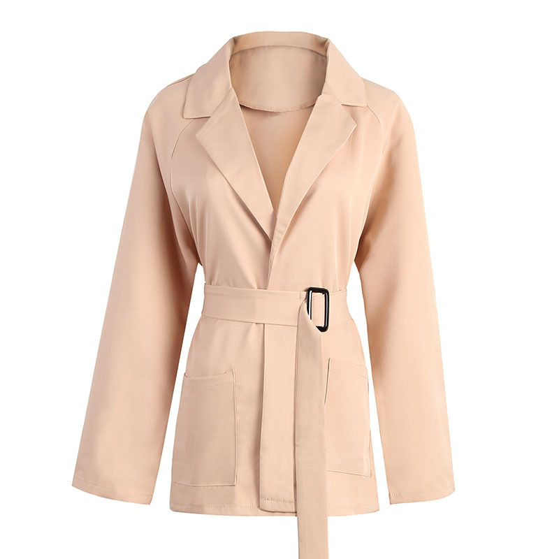 Plus size adjustable waist belt trench coat women elegant open stitch solid color coats 2019 new arrival spring autumn