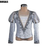 boys puff sleeve performance tunic men ballet jacket outfitmale professional mprince ballet dance top mens ballet costumes 0003A