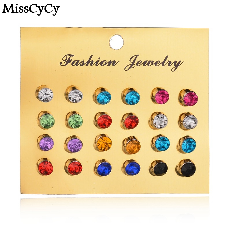MissCyCy Nuevo 12 Par/set Colorido Cristal Pendientes Piercing Stud Pendientes P