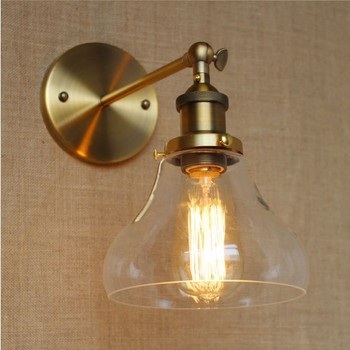 IWHD Retro Loft Industrial Vintage Wall Lamp Golden Glass Lampshade Edison Wall Sconce LED Stair light Lampara Pared iwhd golden led wall light bathroom bedroom glass ball wall lamp modern sconce led stair lights lamparas de pared