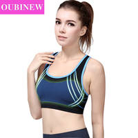 OUBINEW New Women Shockproof Bra Stretch Adjustable Padded Fitness Vest Breathable Outer Vests Seamless Underwear open air Tops