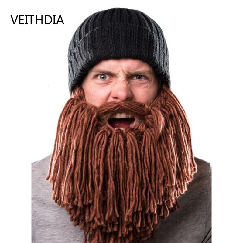 VEITHDIA Europe and the United States personality creative Funny bearded wool hat winter warm hat 20 colors fall and winter europe and the united states men and women s bad hair day embroidery beanie kintted wool hat hiphop