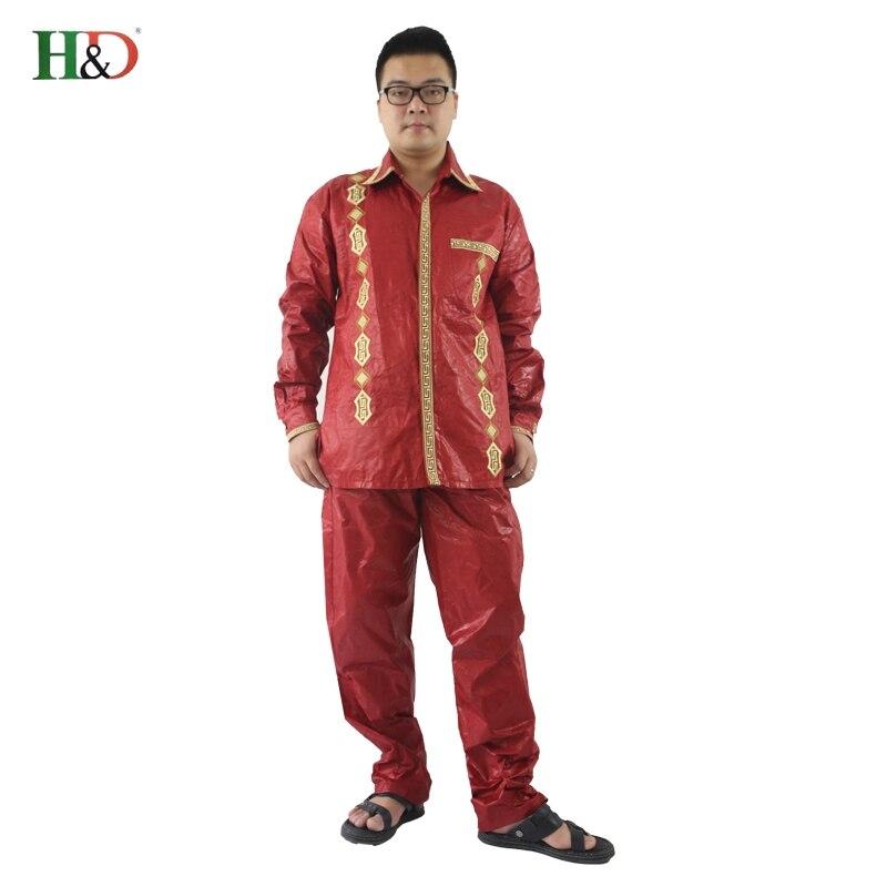H & D 100% bomull Mens afrikanska män kläder dashiki man kostymer - Nationella kläder - Foto 6