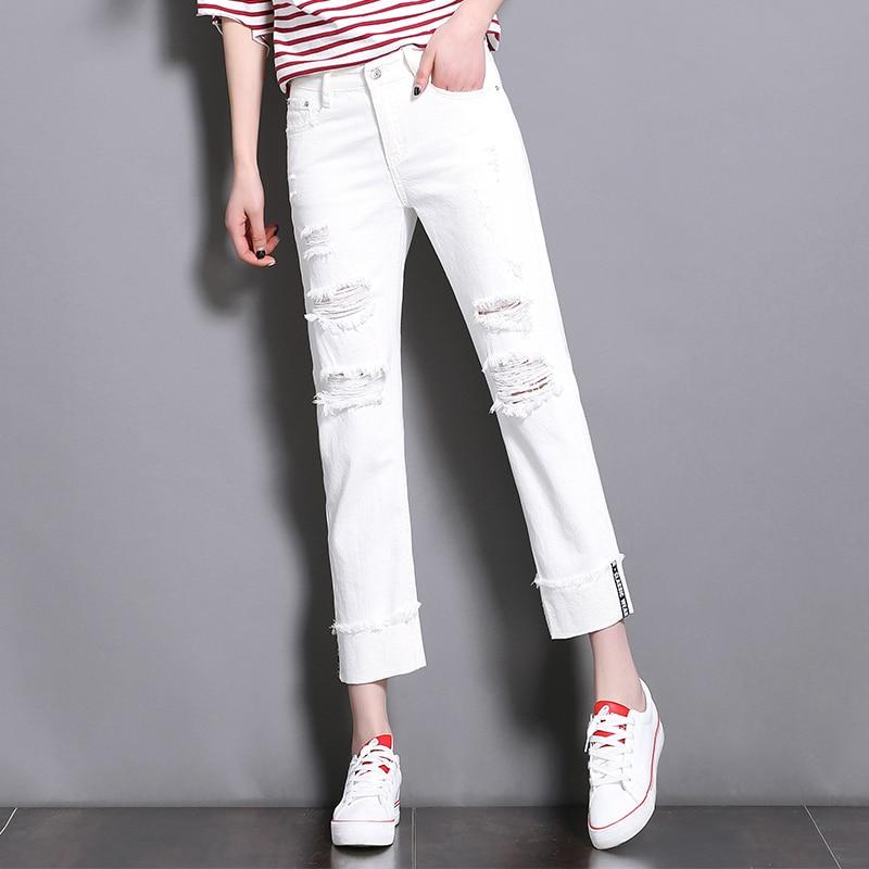 CTRLCITY White Jeans Woman 2018 New Preppy Casual Style Loose High Waist Ankle Length Wide Leg Jeans Pants Boyfriend