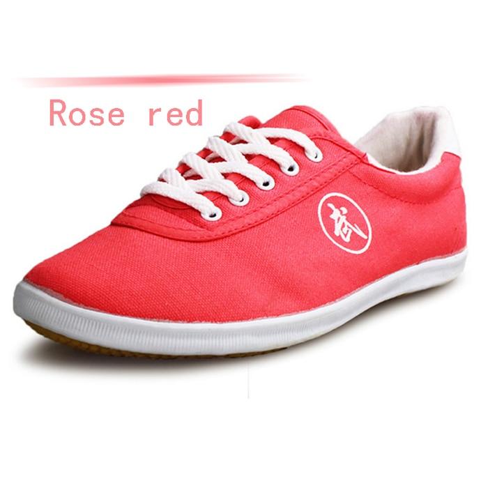 Высокое качество тай-чи Обувь ребенка в школу белые спортивные Обувь Боевые искусства Для мужчин Для женщин Тайцзи Wu Шу обуви кунг-фу 5 видов цветов - Цвет: ROSE RED