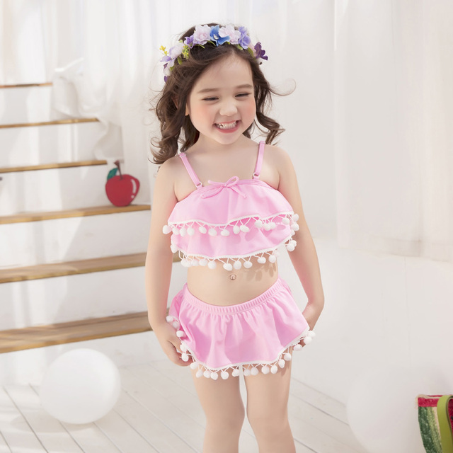 ba62b68bd7f58 Cute swimwear for girls bikini pink tankini set 3pieces swimsuit baby girl  swim suit with swimming cap children s bathing suit. 1 order