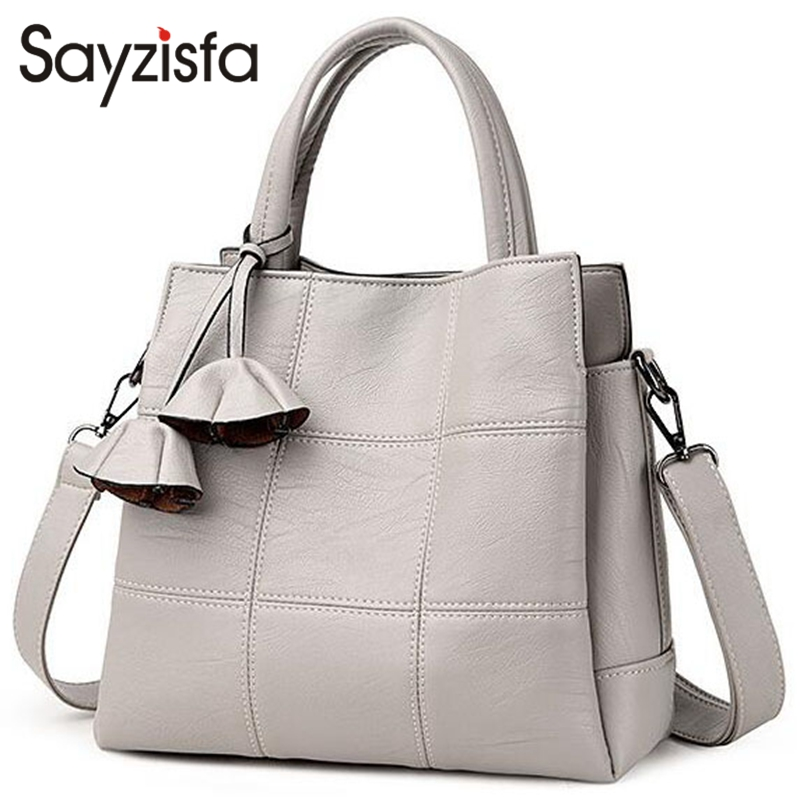 Sayzisfa Women Handbags Split Leather Bag Famous Brand Woman Messenger Bags High Quality Handbag Ladies Shoulder Bag Luxury T543 chispaulo women genuine leather handbags cowhide patent famous brands designer handbags high quality tote bag bolsa tassel c165