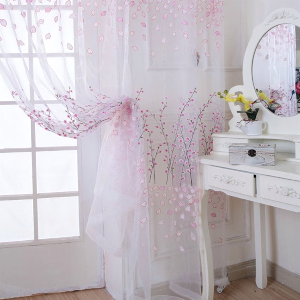 Sucursala de lemn Sheer Tulle Jaluzele cortina Fereastra Room Drape Panel Fabric Scarf screening Perdele pentru camera de zi
