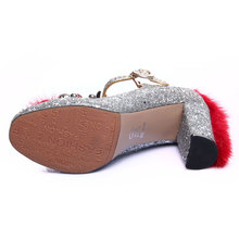 Daidiesha 2018 Classy T-strap women pumps shoes Square Toe Ladies High heels Sequined Cloth Party Wear Zapatos Sexy Women
