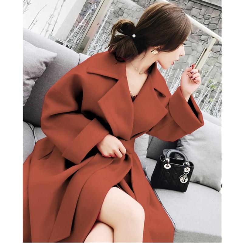 UHYTGF المرأة الخريف الصوفية معطف 2018 زائد حجم طويلة الكورية امرأة الصوف معاطف أزياء حزام فضفاض امرأة معاطف عالية جودة 367-في صوف مختلط من ملابس نسائية على  مجموعة 3