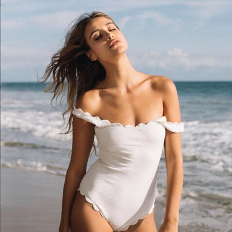 Sexy Bandeau Ruffled Bikini Women Solid Strapless Swimsuit Elastic Swimwear Bathing Suit Biquini Maillot De Bain