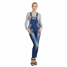 Women Jeans Jumpsuit Spring Casual Skinny Washed Bleached Scratched Ripped Denim Overall Women Clothing
