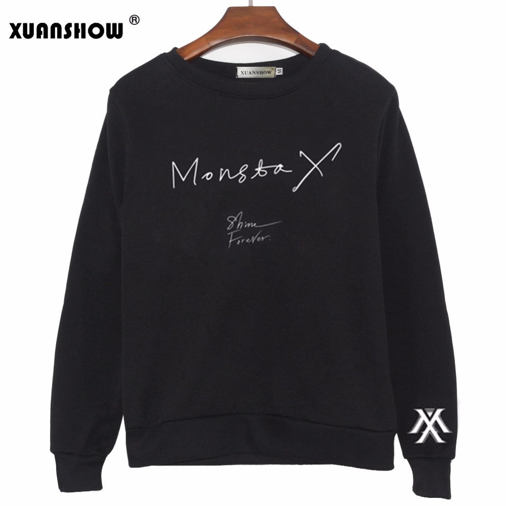 XUANSHOW mujeres Tops KPOP moda MONSTA X Album SHINE FOREVER Printed Letters Hoodies pulóvers Fleece sudaderas