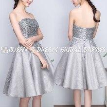 Sparkly Silber Grau Liebsten Perlen Short Abendkleid Spitze Kleid Prom Kurze Heimkehr Kleid Formales Abend-kleid SPD45