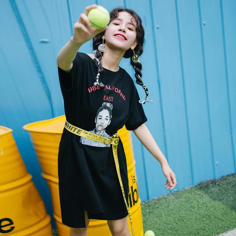 Повседневная Уличная одежда Женская длинная футболка большого размера 1984 califoria East с принтом один размер короткий рукав свободные черные футболки топы