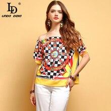 LD LINDA DELLA Summer Fashion Tops Womens Short Sleeve Sexy Off shoulder Ruffles Floral Printed Elegant Vintage Loose T-shirt
