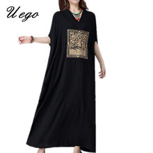 Uego 2021 Fashion Embroidery Floral Summer Dress Batwing Sleeve Loose Casual Dress Cotton Linen Vintage Women Long Maxi Dress