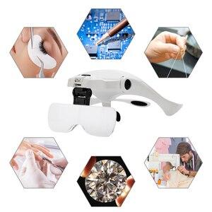 Image 5 - 5 Lens Adjustable Headband Magnifying Glass With LED Light for Eyelash Extension,Magnifier Lamp for Eyelashes