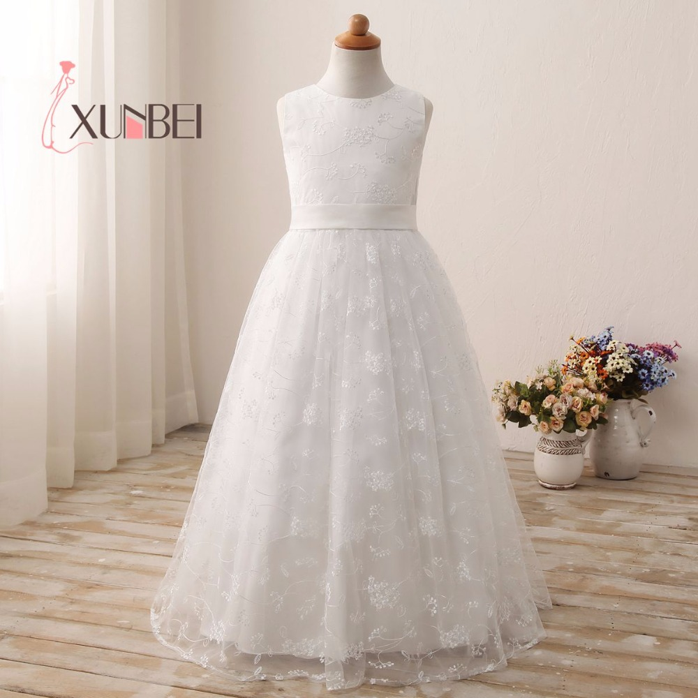 High Quality Princess Lace Flower Girl Dresses 2018 Girls Pageant