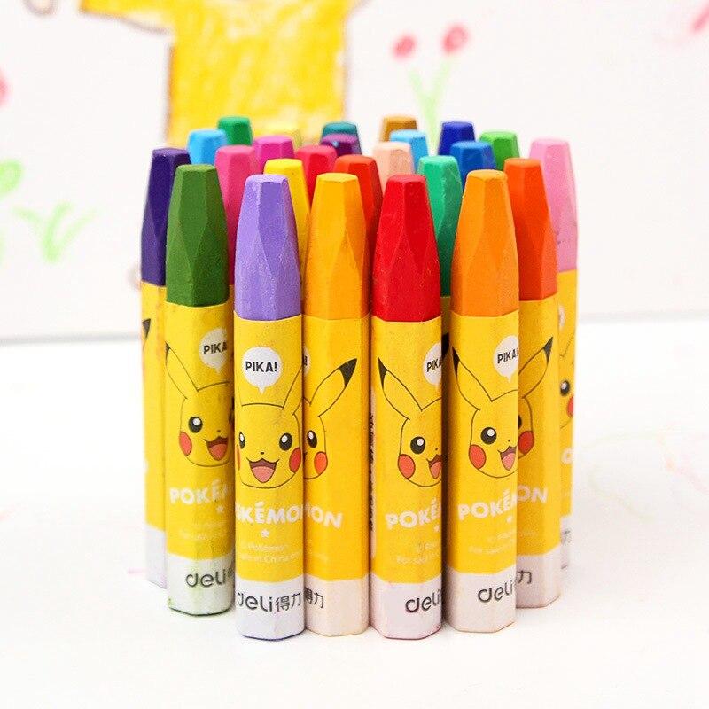 Deli Wax Crayon Kids Oil Painting Stick Pokemon Pikachu Crayon Child Safety Pastel Art School Supplies 12/18/24/36 Color Per Box