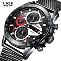 LIGE Топ люксовый бренд часы мужские из нержавеющей стали сетки часы Бизнес Мода Спорт водонепроницаемые мужские часы Relogio Masculino + коробка