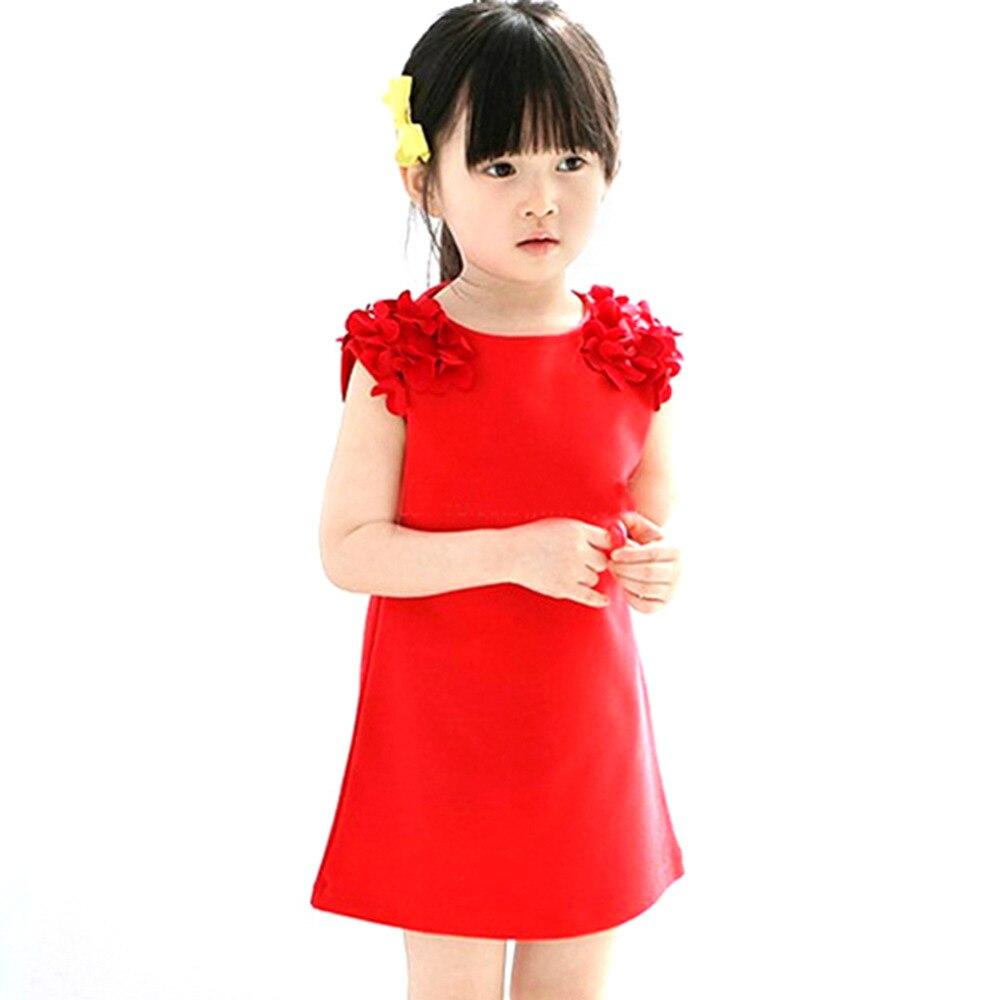 Летние детские 1 год Обувь для девочек без рукавов с цветочным принтом мини-платье принцессы вечерние платья Однотонное платье; розовый, кра...