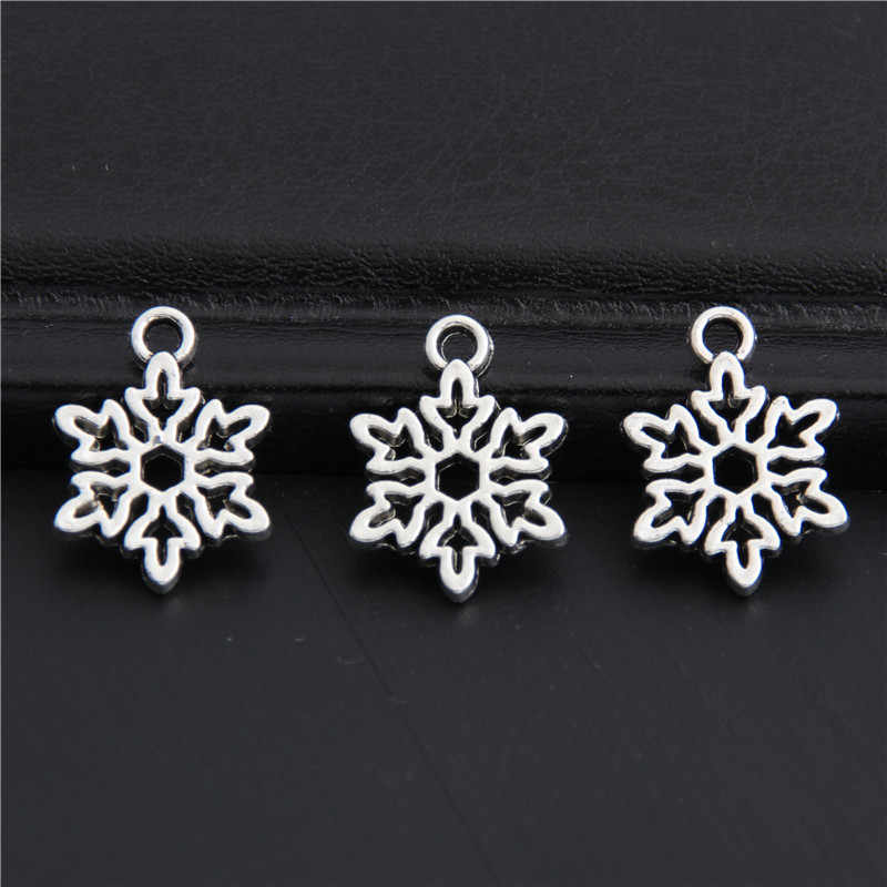50pcs Antique Silver Snowflake Snow Charms Christmas Pendant Findings Accessories DIY Jewelry Wholesale 11.5x15.5mm A3009