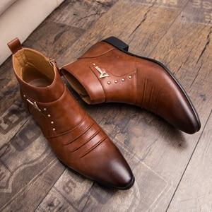 Image 4 - Misalwa קרסול מחודד למעלה Zip גברים צ לסי מגפי אביב סתיו מוצק בציר עור Chaussure Homme זכר 2019 שמלת מגפיים
