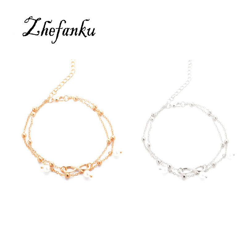 Summer Anklet New Small Fresh Jewelry Lady Anklet 8 Word Imitation Pearl Anklet Selling Hot Legs Jewelry