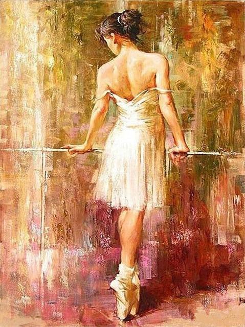 Última Frameless Diy pintura al óleo bailarina por números Kits ...