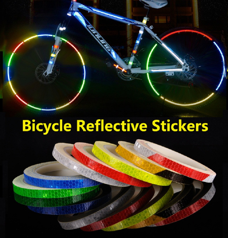 1pcs Bicycle Motorcycle Reflective Stickers Cycling Reflective Tape Wheel Rim Tape Fluorescent Safety Waterproof  1cm*8m