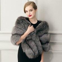 2017 faux fur colete feminino casaco de inverno grosso casaco de pele morno imitação de pele de Noiva xale manto sólido imitação casaco de pele colete feminino