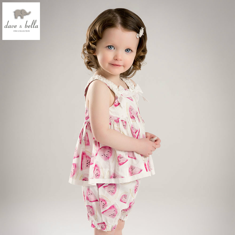 DB5068 dave bella summer baby girls watermelon printed clothing sets kids lovely sets toddle cloth kids sets baby fancy clothes