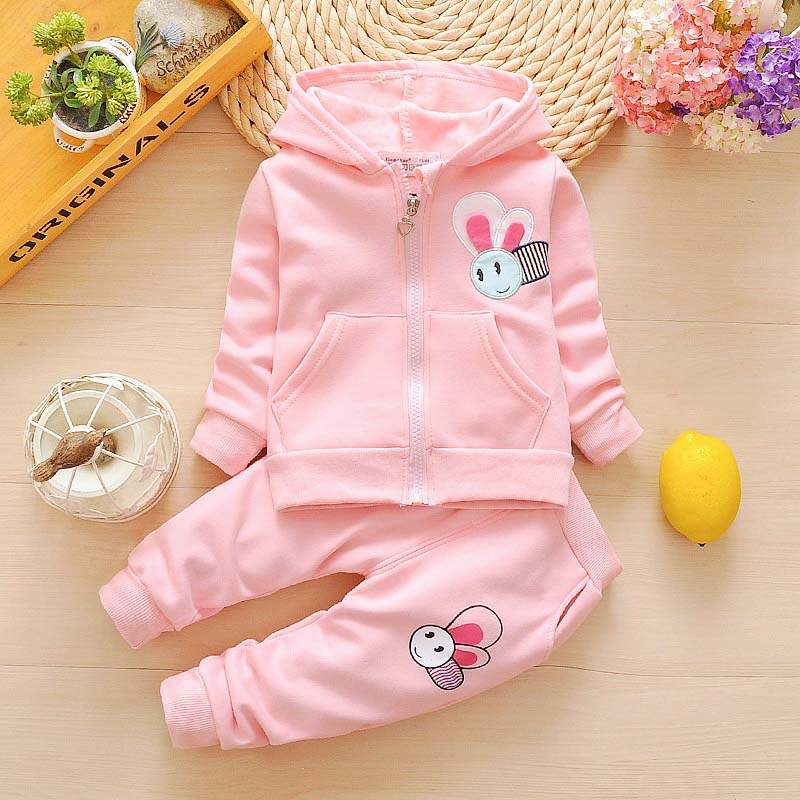 2019 Baby Girl Clothes Hooded Bees Printed Regular Sleeve Cotton Coat+pant 2pcs Newborn Clothes Girl Sports Sets Babe Clothing