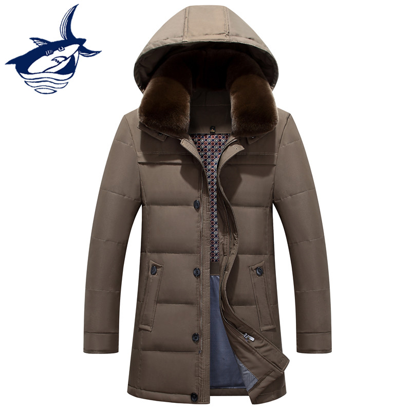 Tace & Shark Brand   Down   Jacket For Middle-aged Man Thick Windproof Animal Fur Collar Detachable   Down     Coat   Mens Winter Jacket