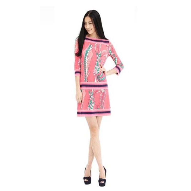 Femmes printemps Fasion Soie Robe Douce Impression Tricot Robe des femmes Douces Minces Élastique d'une Seule pièce robe Z-1-16