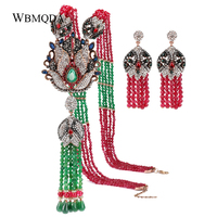 2 Pcs/lot Ethnic Natural Stone Beads Crystal Tassel Necklace Drop Earrings For Women Vintage African Jewelry Sets Free Shipping