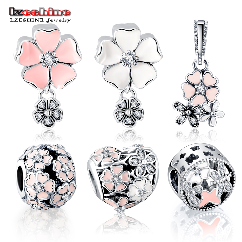 LZESHINE 100% 925 Sterling Silver Charm Bead Flower Enamel Beads Fit Original Pandora Bracelet Authentic Luxury Women Jewelry