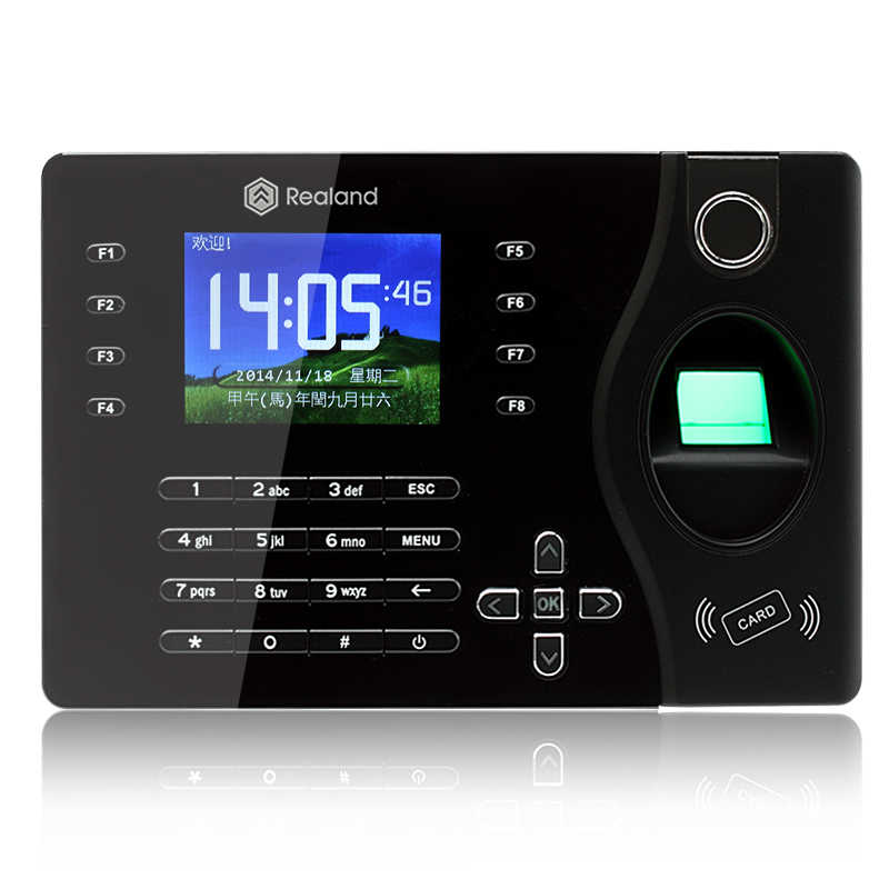 TCP/IP Realand A-C081 Fingerprint Recorder Employee Time Attendance Terminal with 125Khz Support French Language fingerprint entrance guard tcp ip realand access control and time attnedcne terminal mf131 support french arabic language