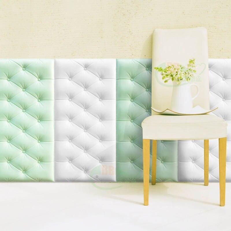 Papel pintado autoadhesivo impermeable de espuma de PE de cuero de imitación 4 Uds para sala de estar dormitorio niños habitación infantil decoración para el hogar papel de pared en 3D - 5