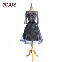 XCOS Dreamy Bling Short Homecoming Dress Navy Blue Cocktail Dresses Beaded Real Photo Long Sleeve Graduation Dresses